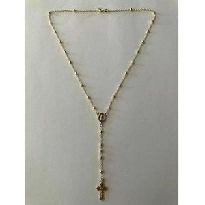 Harlembling Gold Silver Rosary Beads Necklace 18""